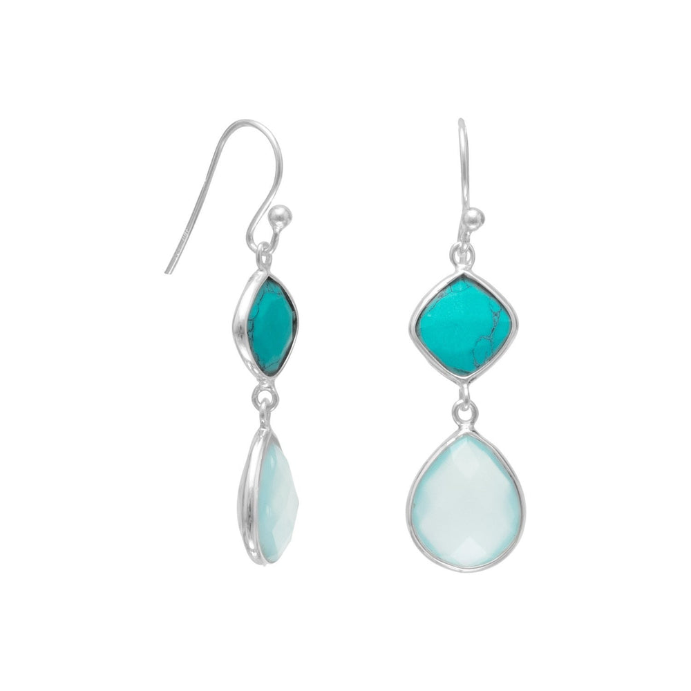 Stabilized Turquoise and Sea Green Chalcedony Drop Earrings in Sterling Silver