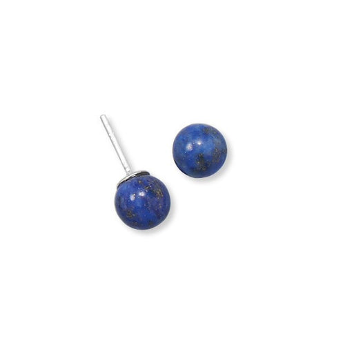 8mm Lapis Lazuli Stud Earrings Sterling Silver