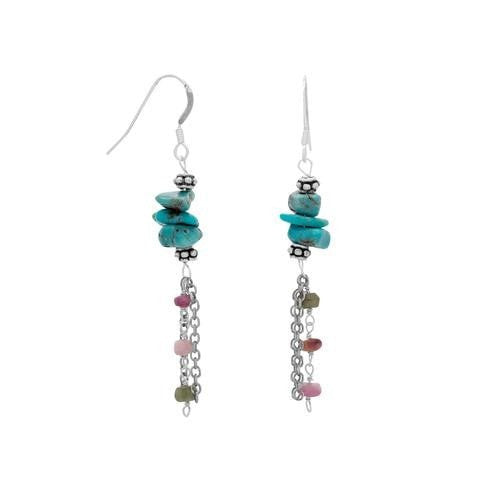 Baila Luna Oxidized Multistrand Turquoise and Tourmaline Drop Earrings