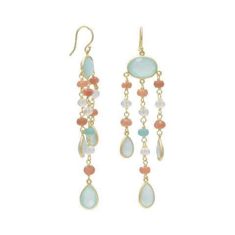 14 Karat Gold Plated Drop Earrings with Moonstone, Chalcedony and Quartz