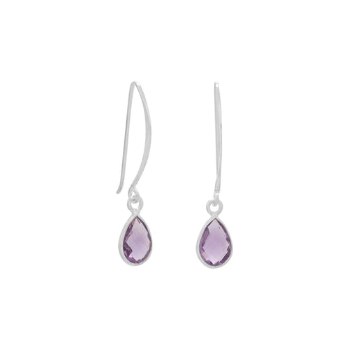 Amethyst Drop Earrings Pear Shape Sterling Silver Wire