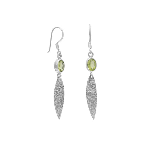 Textured Oxidized Sterling Silver Textured Drop Earrings with Peridot