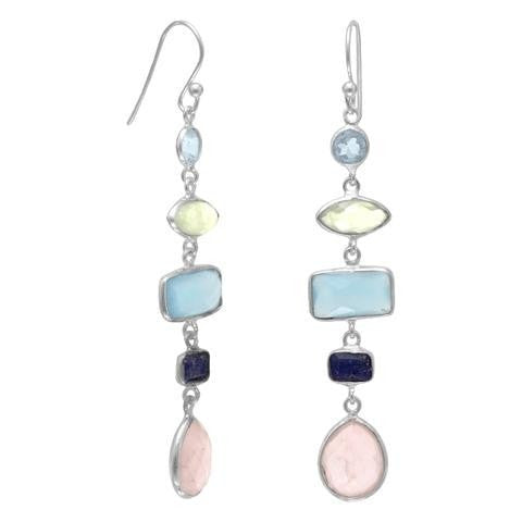 Drop Earrings with Rose Quartz, Lapis, Topaz, Prehnite, Chalcedony