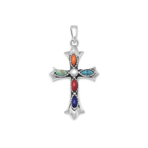 Marquise Stone Cross Pendant with Lapis Lazuli, Coral & Turquoise