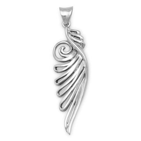 Angel Wing Pendant~ Oxidized Ornate Sterling Silver