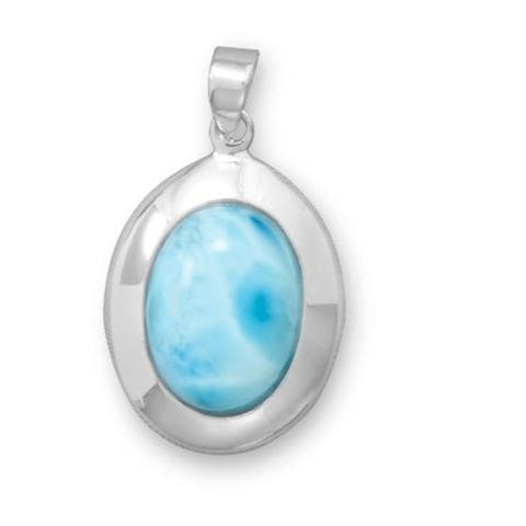 Rhodium Plated Oval Larimar Pendant