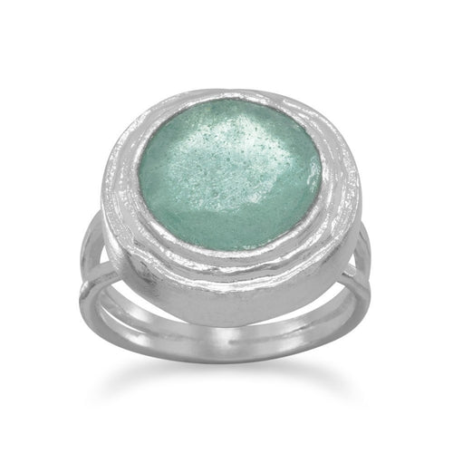 Ancient Roman Glass Ring Green Glass in Sterling Silver