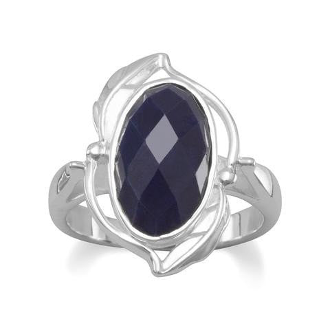 Oval Rough-Cut Faceted Sapphire Ring Vine Design Sterling Silver