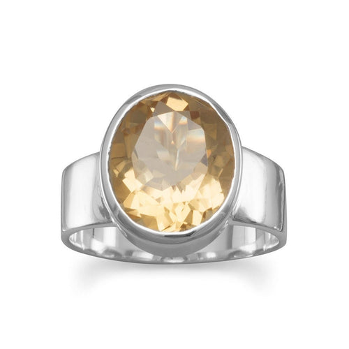 Oval Citrine Solitaire Ring in Sterling Silver