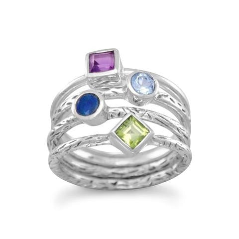 4 Band Ring with Amethyst, Peridot and Blue Topaz