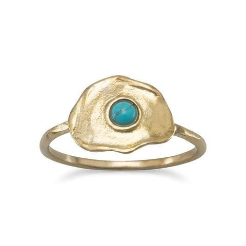 Brass and Reconstituted Turquoise Ring