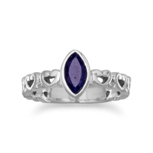 Rough-Cut Marquise Sapphire Ring with Cut Out Hearts Sterling Silver