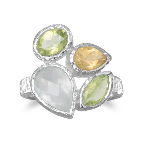Peridot, Prehnite and Citrine Ring with Sterling Silver