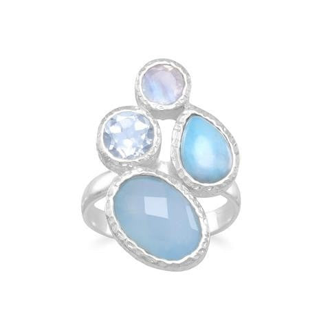 Chalcedony, Larimar, Topaz and Moonstone Ring in Sterling Silver