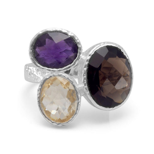 Amethyst, Citrine and Smoky Quartz Ring in Sterling Silver