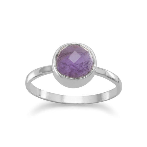 Faceted Amethyst Stackable Ring in Sterling Silver