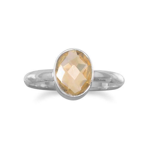Faceted Citrine Stackable Ring in Sterling Silver
