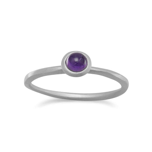Amethyst Stackable Ring Rhodium Plated Sterling Silver