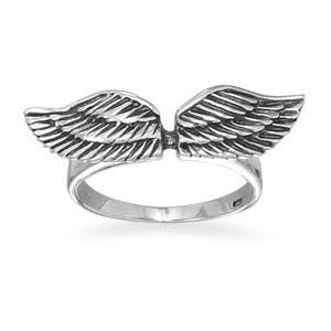 Angel Wings Ring- Oxidized Sterling Silver