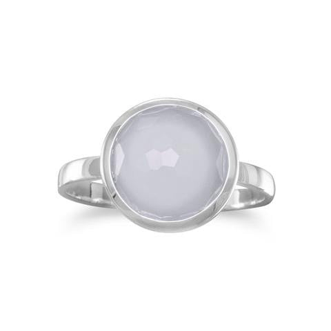 Freeform Faceted Blue Chalcedony Round Stackable Ring in Sterling Silver