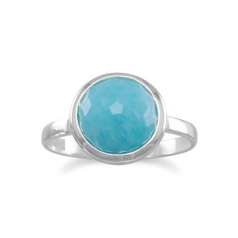 Large Round Freeform Faceted Amazonite Stackable Ring
