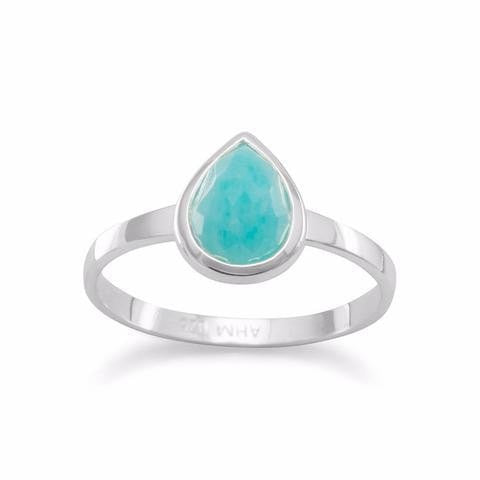 Small Pear Shape Freeform Faceted Amazonite Stackable Ring