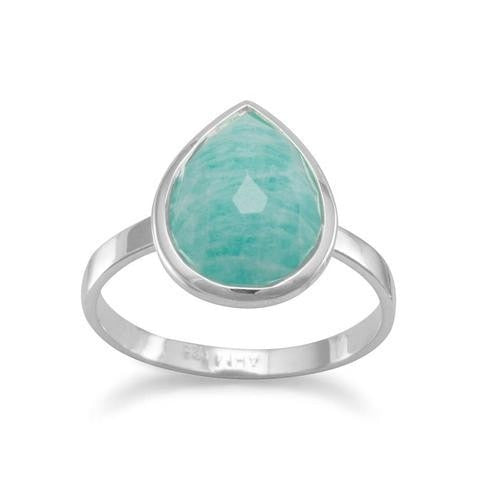 Large Pear Shape Freeform Faceted Amazonite Stackable Ring