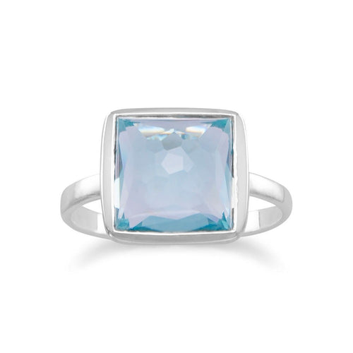 Large Freeform Faceted Blue Quartz Hydro Square Shape Stackable Ring in Sterling Silver
