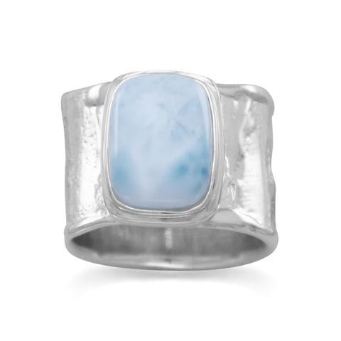 Rhodium Plated Textured Larimar Ring