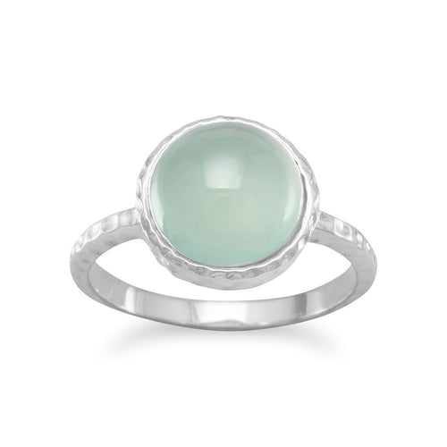 Cabochon Sea Green Chalcedony Ring with Textured Sterling Silver Band