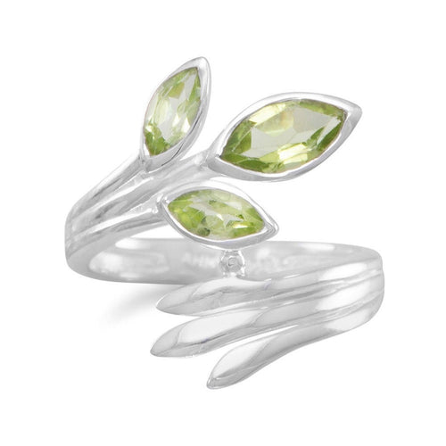 Marquise Peridot Wrap Ring in Sterling Silver