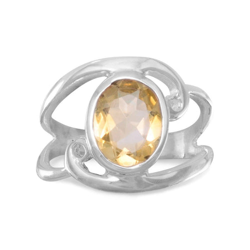 Citrine Ring Cut Out Oval with Swirls in Sterling Silver