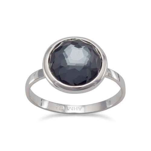 Large Freeform Faceted Quartz Over Hematite Round Stackable Ring in Sterling Silver