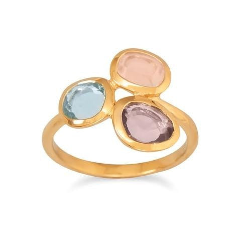 14 Karat Gold Plated Ring with Amethyst, Rose Quartz, Blue Topaz