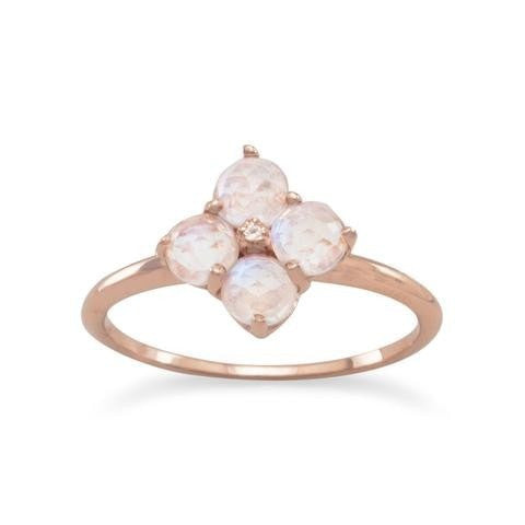 14 Karat Rose Gold Plated Ring with Moonstone Flower