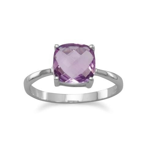 Amethyst Ring - Cushion Cut- Sterling Silver Rhodium Plated
