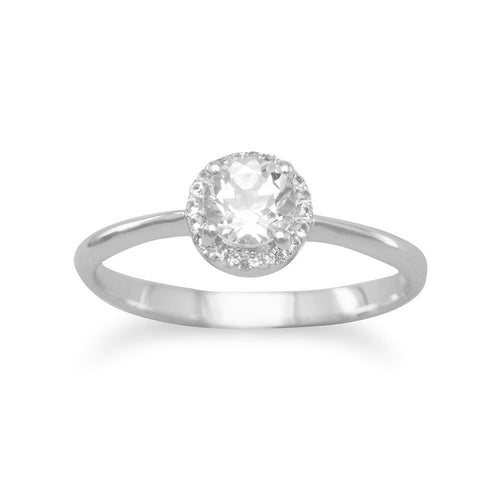 White Topaz Solitaire with White Sapphire Rhodium Plated Halo Ring Bridal Engagement