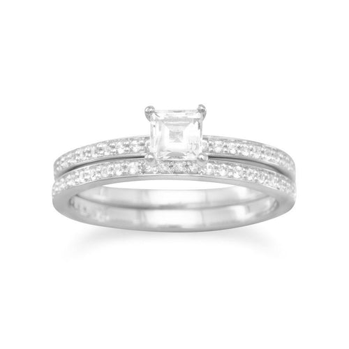 White Topaz Solitaire with White Sapphires Rhodium Plated Bridal Ring Set
