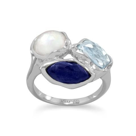 Rhodium Plated Faceted Ring with Topaz, Lapis Lazuli and Pearl