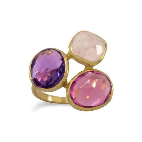 14 Karat Gold Plated Amethyst and Rose Quartz Ring