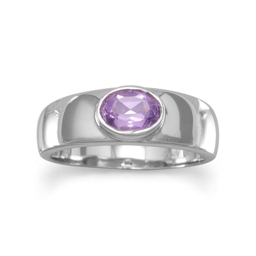 Amethyst Ring with a Polished Sterling Silver Band