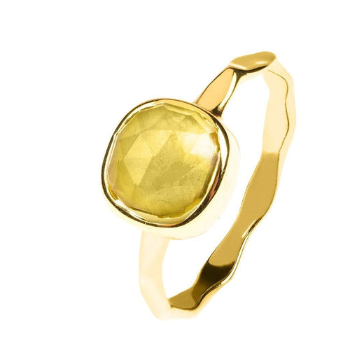 Citrine Stackable Ring Sterling Silver 22K Gold Plated