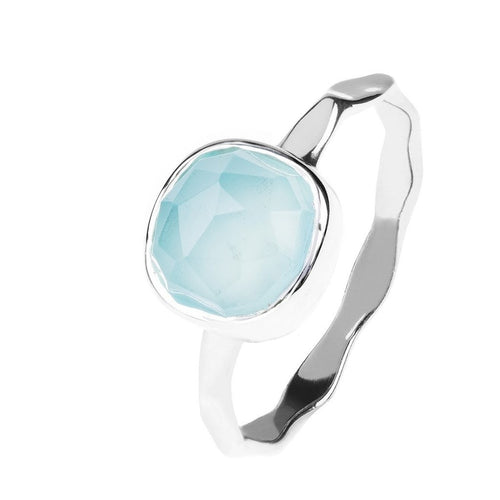 Aqua Chalcedony Stackable Ring Sterling Silver