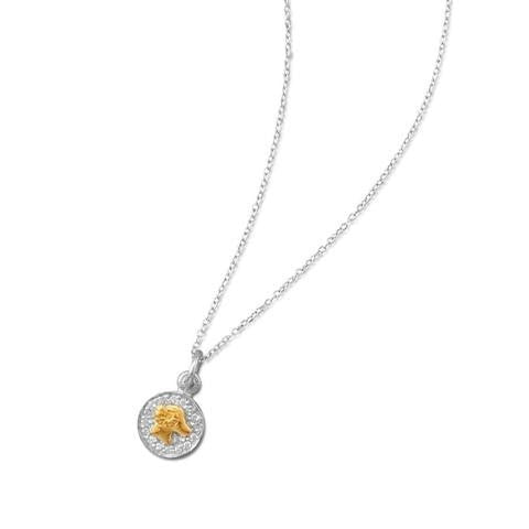 Rhodium Plated Two Tone Zodiac Necklace - Aries