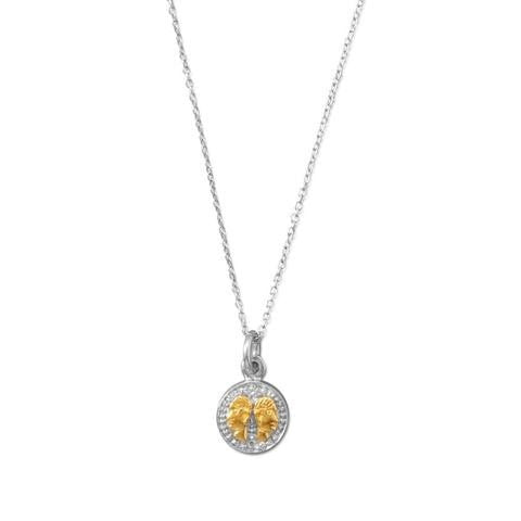 Rhodium Plated Two Tone Zodiac Necklace - Gemini