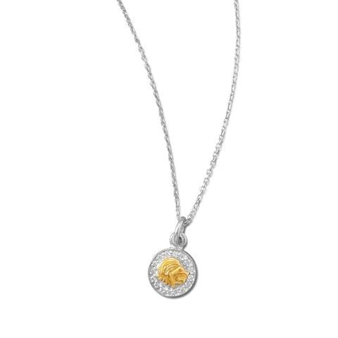 Rhodium Plated Two Tone Zodiac Necklace - Leo
