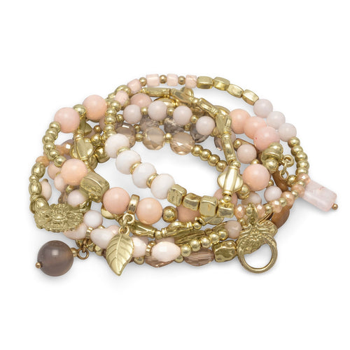 Gold Tone Stretch Charm Bracelets with Rose Quartz and Agate x 6