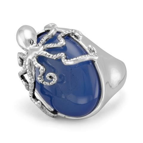 Blue Agate Octopus Fashion Ring
