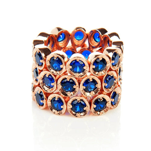 Triple Eternity Ring Sapphire (Rose Gold)