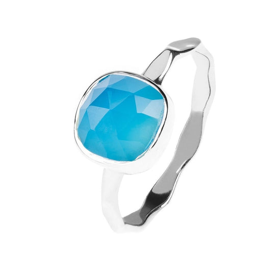 Blue Chalcedony Stackable Ring Sterling Silver